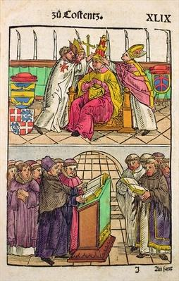 Pope Martin V is installed to the Papacy at the Council of Constance, from 'Chronik des Konzils von Konstanz'