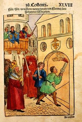 The Florentine delegates celebrate the feast of St. John, their patron saint, at the Council of Constance, from 'Chronik des Konzils von Konstanz'