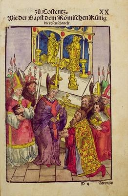Pope Martin V gives Sigismund the symbolic gift of the Golden Rose at the Council of Constance, from 'Chronik des Konzils von Konstanz'