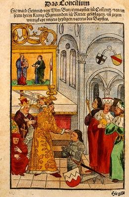 Henry of Ulm is awarded his knighthood by the Emperor at the Council of Constance, from 'Chronik des Konzils von Konstanz'