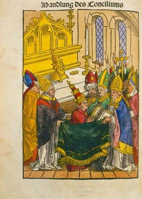 Martin V is installed as Pope at the Council of Constance, from 'Chronik des Konzils von Konstanz'