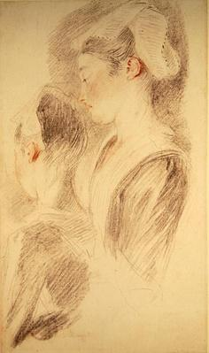 Two studies of a woman, three-quarters from rear, one in profile