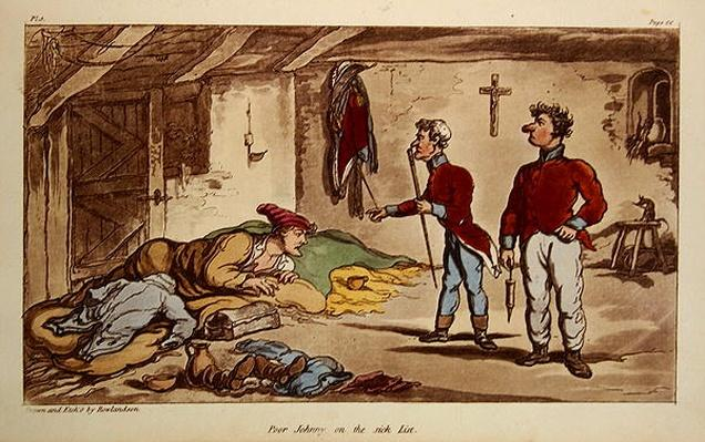 Poor Johnny on the sick list, pl.9 from the book 'The Military Adventures of Johnny Newcome', Patrick Martin, 1815