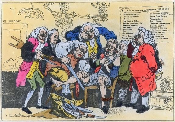 Caricature of Georgian Surgeons at work, 1793