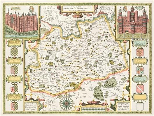 Map of Surrey, engraved by Jodocus Hondius