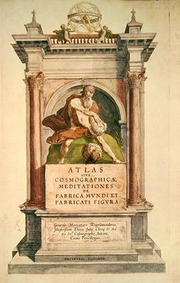 Title page from Mercator's 'Atlas sive Cosmographicae meditationes de fabrica mundi et fabricati figura', 1595