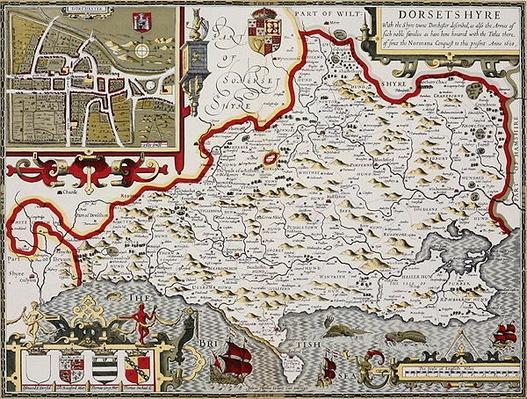 Dorsetshire, engraved by Jodocus Hondius