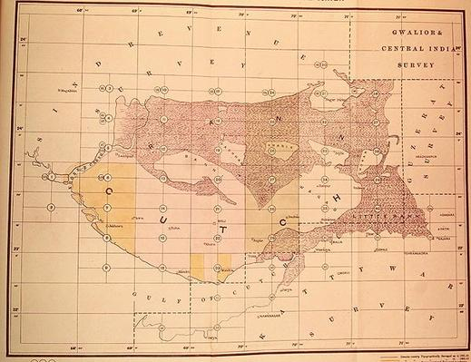 Index Chart of the Cutch Topographical Survey by the Trigonometrical Branch, Survey of India, Dehra Dun, November, 1883