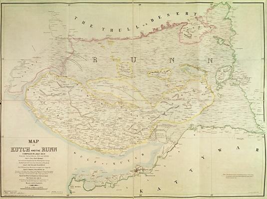 Map of Kutch and Runn, India, 1854