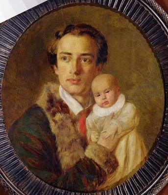 Portrait of Alexander Herzen with his son, 1840