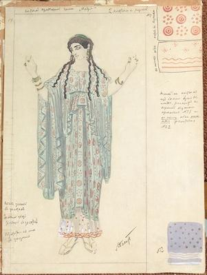 Lady-in-waiting, costume design for 'Hippolytus' by Euripides