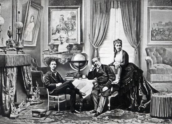 Emperor Napoleon III with Empress Eugenie and the prince Imperial at Camden Place, Chislehurst in 1872