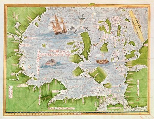 Fol.30v Map of the Sea of Maluku, from the 'Cosmographie Universelle', 1555