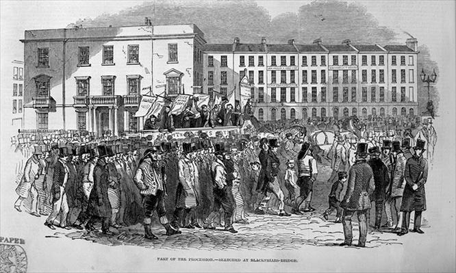 Part of the Chartist Procession sketched at Blackfriars Bridge, 10th April 1848