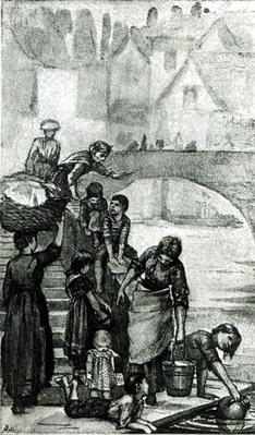 Fetching Water from the River from 'London Street Arabs' by Dorothy Tennant, 1890