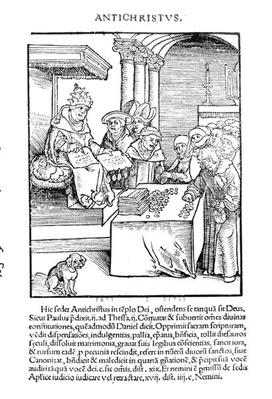 The Pope selling Indulgences from 'Passional Christi und Antichristi' by Philipp Melanchthon, published in 1521