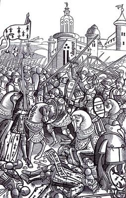 The Battle of Auray, from 'Chroniques de Bretagne' by Alain Bouchard, published 1514