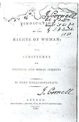 Titlepage of 'Vindication of the Rights of Woman' by Mary Wollstonecraft, published in 1792