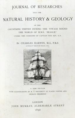 Titlepage to 'The Voyage of the Beagle' by Charles Darwin, edition published in 1890