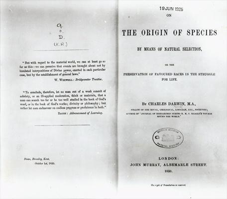 Titlepage to 'On the Origin of Species' by Charles Darwin, published in 1859