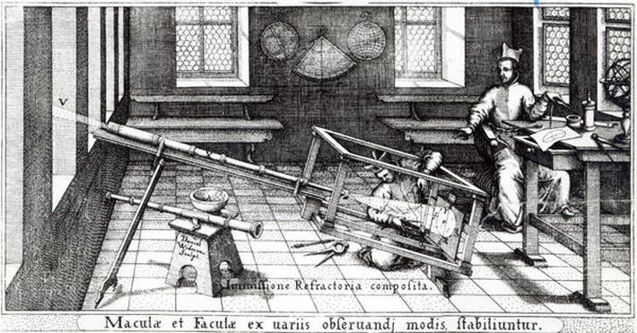 Various methods of observing sunspots, illustration from 'Rosa Orsina' by Christoph Scheiner, published 1630