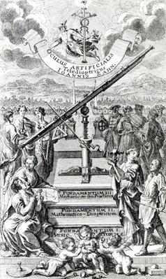Frontispiece to 'Oculus Artificialis Teledioptricus Sive Telescopium' by Johann Zahn, 2nd edition published in 1702