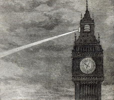 Light on the Clock Tower, Houses of Parliament from 'The Illustrated London News', 16th August 1873