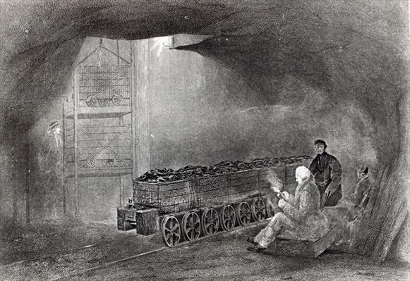 In the Coal Mine, Illustration from 'A History of Coal, Coke, Coalfields and Iron Manufacture in Northern England' by W.Fordyce, published in 1860