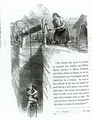 A boy and girl being wound up a mine shaft, illustration printed in the 'Westminster Review', July 1842