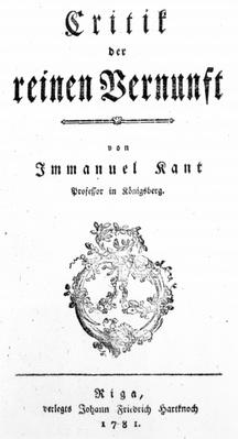 Title Page of 'Critique of Pure Reason' by Immanuel Kant, published in 1781