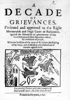 'A Decade of Grievances', Alexander Leighton's pamphlet assaulting the institution of episcopacy, 1641