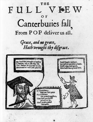 Pamphlet celebrating Archbishop William Laud's downfall, c.1645