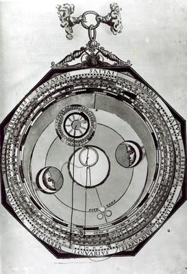 A Volvelle, possibly showing the cycles of the Moon, after an illustration from 'Astronomicon Caesareum' by Petrus Apianus, 1540