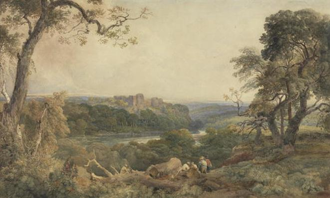 Castle above a River, Woodcutters in the Foreground