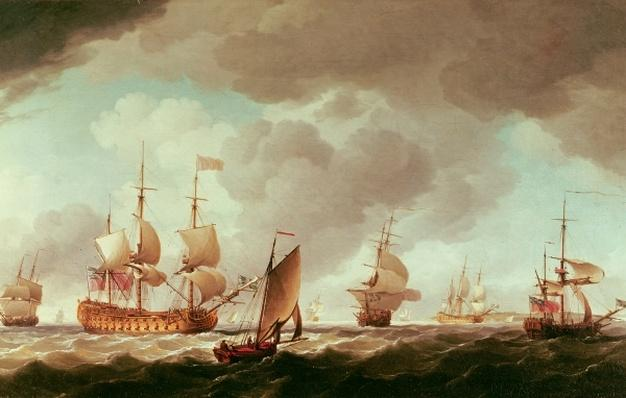 An English Vice-Admiral of the Red and his Squadron at Sea, c.1750-59