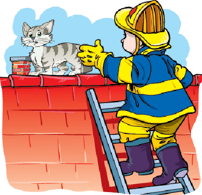 Firefighter and Cat | Clipart