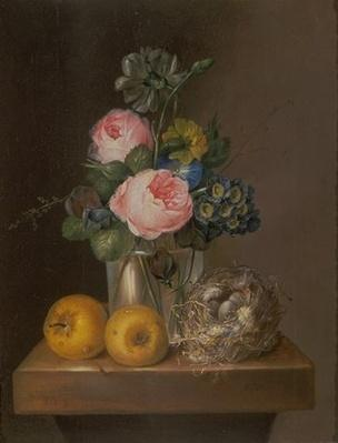 Val A. Browning Memorial Collection: Arrangement of Flowers with a Bird's Nest