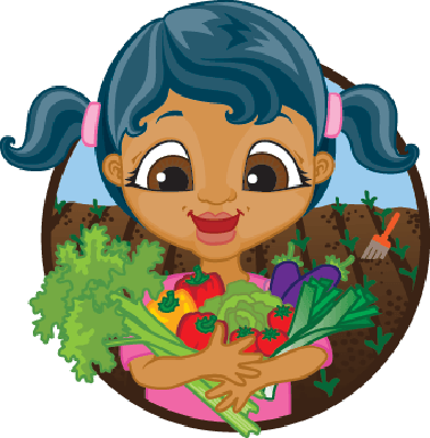 Happy Girl Holding Home Grown Vegetables | Clipart