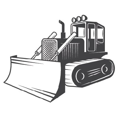 Bulldozer: Black and White | Clipart
