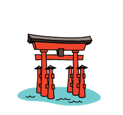 Landmarks - Itsukushima Shrine | Clipart