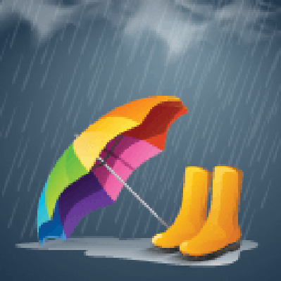 Colorful Open Umbrella and Long Boots Under Heavy Rain   Clipart