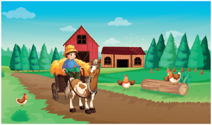 Farm with A Farmer and His Pets | Clipart
