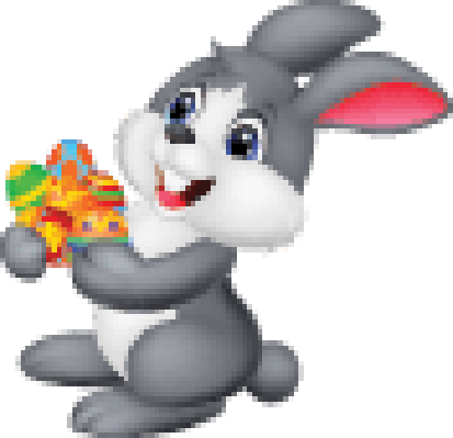 Cartoon Bunny Holding Decorated Egg | Clipart