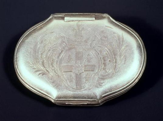Snuff box embossed with a coat of arms, c.1820