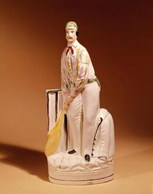 Staffordshire figure of a cricketer, 1865