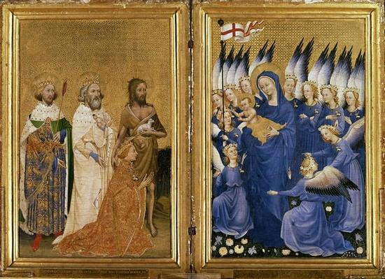 Richard II Presented to the Virgin and Child by his Patron Saint John the Baptist and Saints Edward and Edmund, c.1395-99