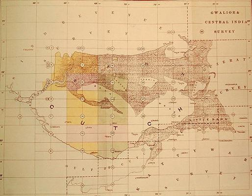 Index Chart of the Cutch Topographical Survey by the Trigonometrical Branch, Survey of India, Dehra Dun, November, 1881