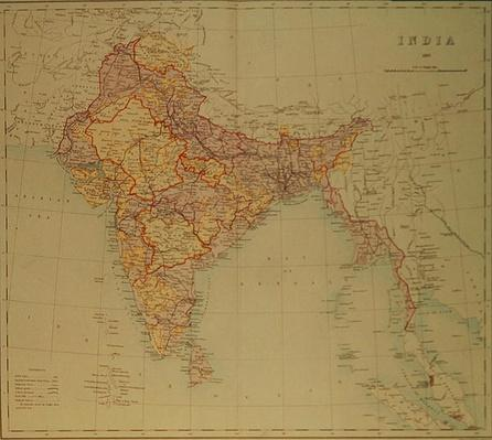 Map of India, published under the direction of Colonel H.R. Thuillier, R.E., Surveyor General of India, 1882