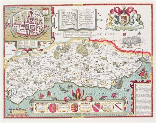Sussex, engraved by Jodocus Hondius