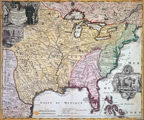 Map of Louisiana and Mississippi, c.1720
